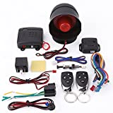 Sistema de alarma para automóvil, entrada sin llave del sistema de protección de seguridad de alarma de automóvil universal con 2 controles remotos...
