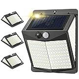 238 LED Luz Solar Exterior 3 Modos / 800lm, 4Pcs Luz Exterior con Sensor de Movimiento, IP65 Impermeable Focos Led Exterior, Iluminación 270°...