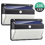 Luz Solar Exterior 108LED, Kilponen Foco Solar Exterior con Sensor de Movimiento Lámpara Solar Impermeable Gran Ángulo 270º de Iluminación Luces...