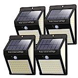 Litogo Luz Solar Exterior 140 LED【4 Pack / 3 Modos】con Sensor de Movimiento, Luces LED Solares Exteriores 270º lluminación Focos Solares...