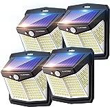 Claoner Luz Solar Exterior【128 LED/ 3 Modos】Luces LED Solar Exterior con Sensor de Movimiento Aplique Lampara 270º lluminación IP65 Impermeable...